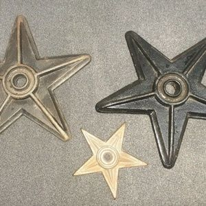 Cast Iron Center Hole Star Anchor Plates Lot of 3